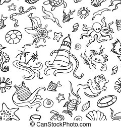 Doodle pattern sea