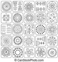 doodle, pattern., seamless, folhas, flores, corações