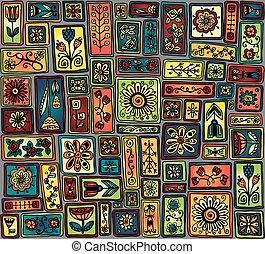 doodle, pattern., seamless, liście, kwiaty, hearts.