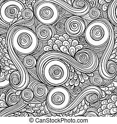 doodle, pattern., seamless, retro, étnico, floral, asiático