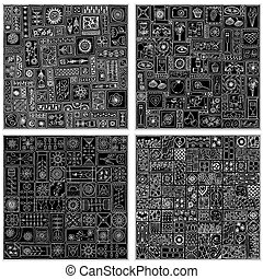 doodle, pattern., seamless, verzameling, floral, geometrisch