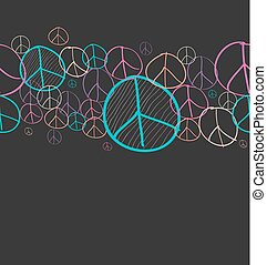 Doodle peace symbol seamless pattern background EPS10 file....