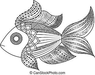 doodle, peixe, coloração, monocromático