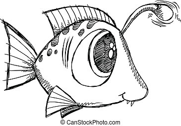 doodle, peixe, vetorial, arte, esboço