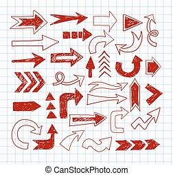 Doodle pen sketch arrows on lined paper.