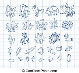 Doodle pen sketch crystals. Collection of minerals on lined paper. Vector illustration