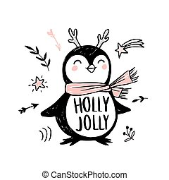Doodle penguin with pink scarf, horns and hand draw inscription Holly Jolly.