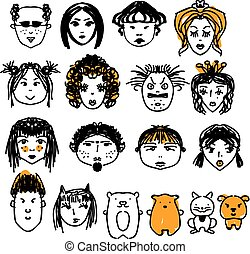 Doodle people faces. Hand drawn man and woman avatars, cute animals. Artisitic design elements