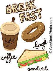 doodle, pequeno almoço, ícone