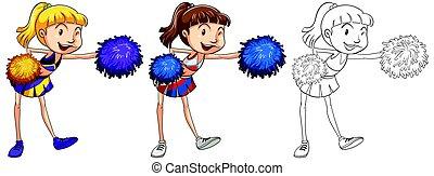 doodle, personagem, cheerleader