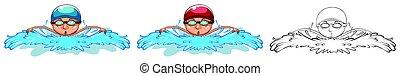 doodle, personagem, natação