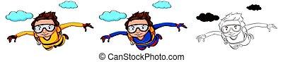 doodle, personagem, skydiver