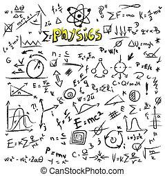 Doodle physics formulas background