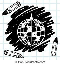 doodle, piłka, dyskoteka