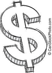 doodle, pieniądze, znak