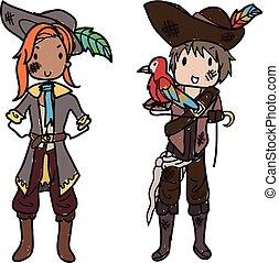 Doodle pirate couple