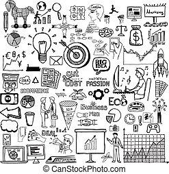 doodle, plan, handlowy