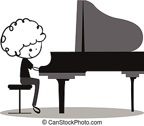 Doodle Playing Piano - black nad white