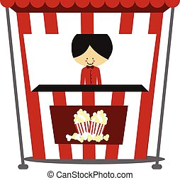 Doodle Popcorn Seller - Full Color