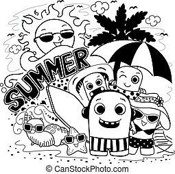 doodle, potwór, lato