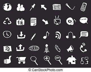 doodle, pretas, teia, fundo, ícones