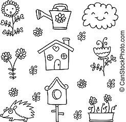 doodle, primavera, jardim, cobrança, item