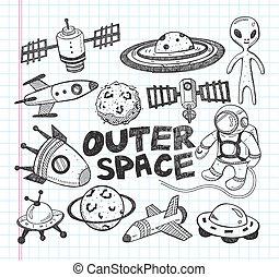 doodle, przestrzeń, element, ikony