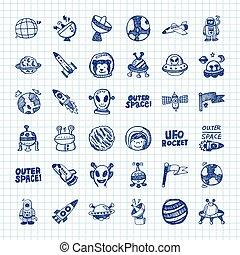 doodle, przestrzeń, ikony