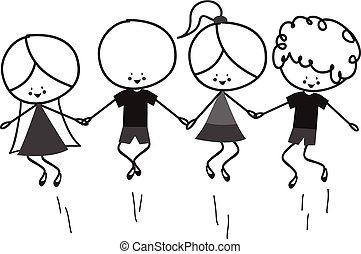 doodle, pular, crianças