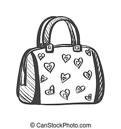 doodle purse isolated in white, excellent vector...