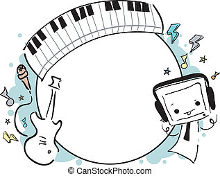 doodle, quadro, música