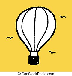 doodle, quentes, balloon, ar