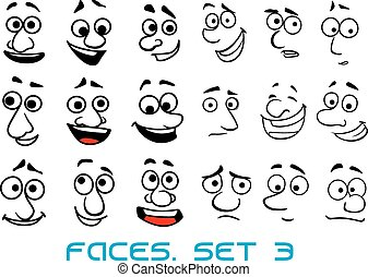 doodle, różny, rysunek, wzruszenia, twarze