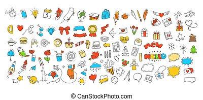 doodle, różny, wektor, komplet, ikony