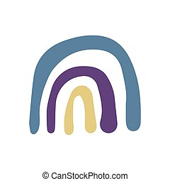 Doodle rainbow symbol isolated on white background. Simple cartoon design.
