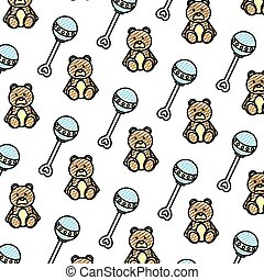 doodle rattle and teddy bear toys background