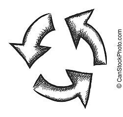 doodle recycle arrow symbol