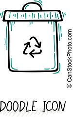 Doodle recycle bin icon. Trash can.