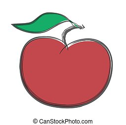 doodle red apple  vector