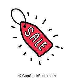 Doodle red sale tag label.