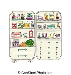 Doodle refrigerator with food drawn by hand. Vector ...