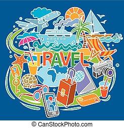 doodle, reizen, concept
