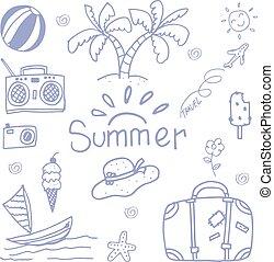 doodle, reizen, kunst, vrolijke