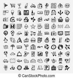doodle, reizen, set, iconen
