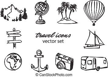 doodle, reizen, vector, set, iconen