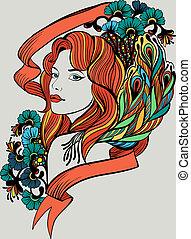 doodle, retrato mulher