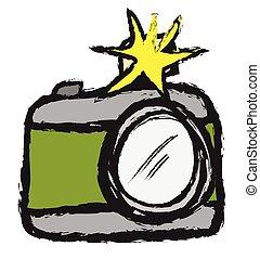 doodle retro camera,  vector