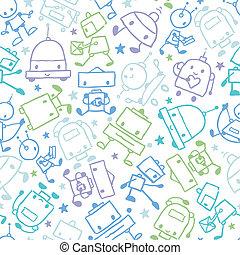 doodle, robôs, seamless, padrão experiência, divertimento