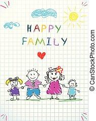 doodle., rodzina, drawing., dzierżawa wręcza, niemowlę, szczęśliwy