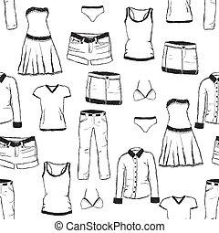 doodle, roupas, padrão